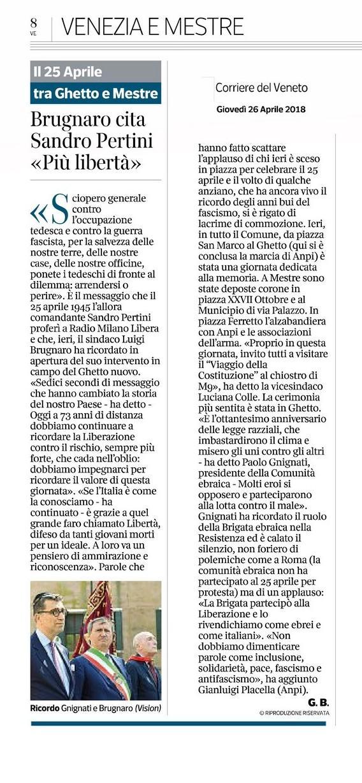 Corriere del Veneto, 26 aprile 2018